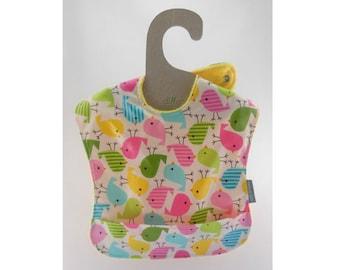 Waterproof bib, Wipeable bib, Plastic bib, 1st birthday bib, Wipe off bib, Baby girl bib, Pocket baby bib, Ready to ship, Baby chicks