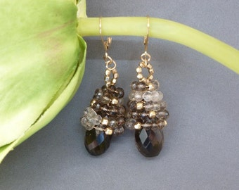 My Spiral Sparks Earrings throw out some serious sparkle in gold and smoky quartz!
