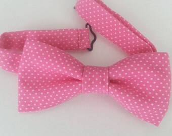 Pink Polka Dot Baby Bow Tie