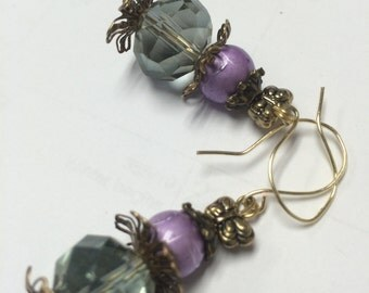 Purple and Green Earrings, Brass Flower Earrings, Vintage Flower Brass Dangle Earrings