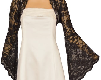 Ladies Black Lace Long Bell Sleeve Bolero Shrug