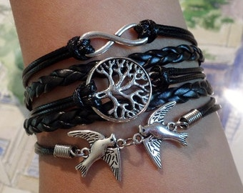 Infinity bracelet Tree bracelet, Lover birds bracelet, Antique bronze Charm black leather / wax cords