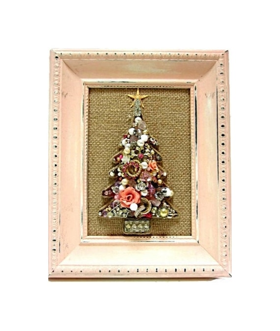 Liamaria Christmas Tree Wall Decoration : Jewelry christmas tree pink wall art shabby