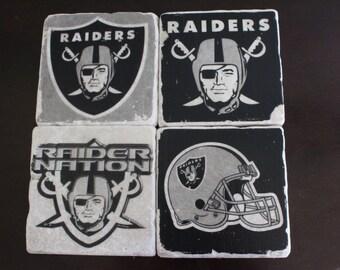 Raiders Marble Coaster Set FREE SHIPPING