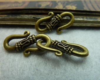 50pcs 12x21mm Antique Bronze Hook Clasps AC5750