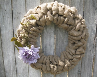 "20"" Burlap wreath with lavender dahlia"