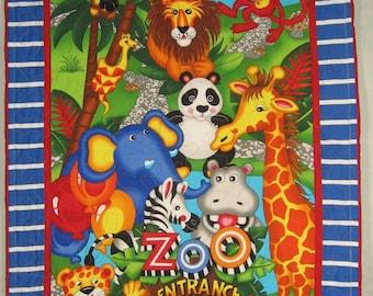 Zoo Panel Quilt, Zoo Animals.