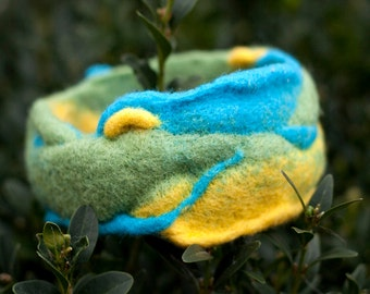 Felt bracelet, Felt Jewelry, Blue,Yellow, Green