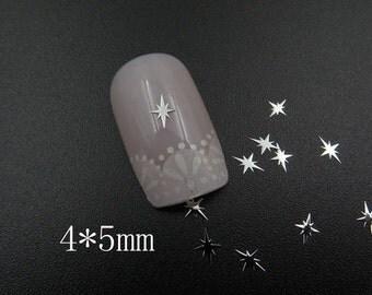 MS366-1 100pcs Nail art 4*5mm Silver Shinny Deco Metal Sticker Nail Art Deco