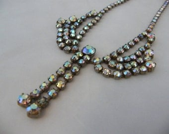 1950's Silvertone Necklace with Aurora Borealis Rhinestones - Stunning