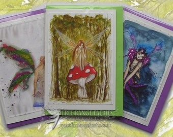Fairy Glitter Cards/Bestsellers Card Pack/Glitter fairy greetings card/Birthday Card/Note Card/Woodland/Gothic/Fantasy/Fairy Cards