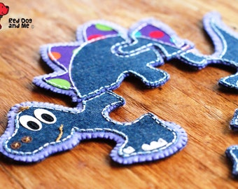 Dinosaur PDF Sewing Pattern 5 piece Jigsaw Puzzle Soft Toy Quiet Book Baby Sewing Pattern Felt Toy Patterns Baby Gift