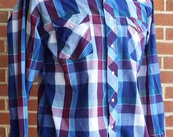 Vintage Long Sleeve Blue Plaid Western Snap Shirt by Wrangler