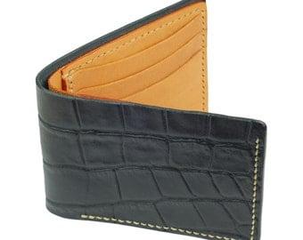 Black Leather BiFold Wallet, Tan Leather Interior, Tan Waxed Thread- Crocodile Grain Leather