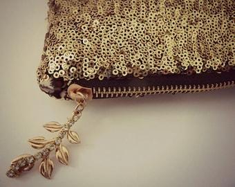 SALE Gold Sequin Clutch, GOLD CLUTCH , Sparkly Clutch, Woodland clutch, Wedding Clutch, Gold Leaf and Rhinestone