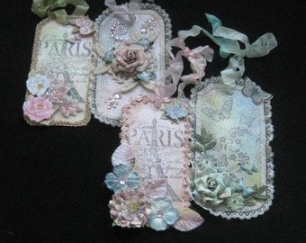 Set of 4 mixed media altered art tags - Handmade - Gift tags