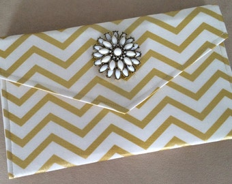 Metallic Gold Chevron Clutch with Removable Broach, Gold Chevron Clutch, Chevron Clutch, Envelope Clutch, Embellished Clutch, Gift for Her