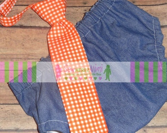 Denim and Orange Gingham Photo Prop 1st Birthday Set Diaper Cover Necktie Cake Smash Set