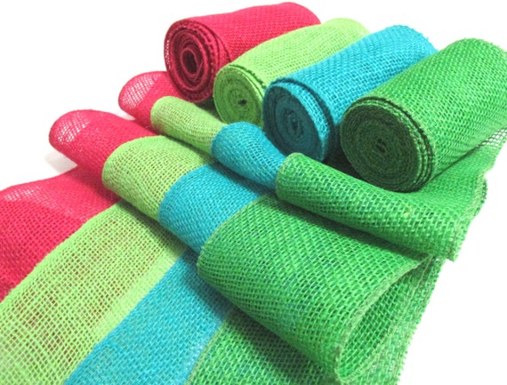Burlap ribbon hot pink lime green green by bchands on etsy for Green burlap ribbon