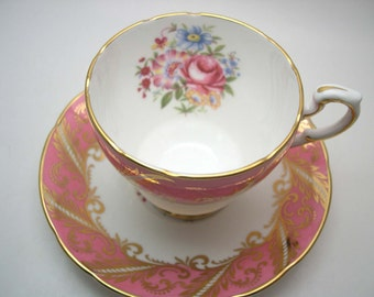 Pink Paragon Tea cup And Saucer, Hot Pink with Flowers, English tea cup set, Pink  tea cup set, English Fine Bone China