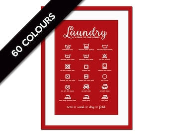 Laundry Symbols - Laundry Room Poster - Wash and Dry - Infographic Art  - Typography Poster - Laundry Room Art - Laundry Procedures Sign