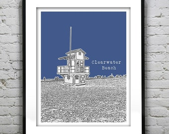 Clearwater Beach Skyline Poster Art Print Florida FL Lifeguard Station Version 3