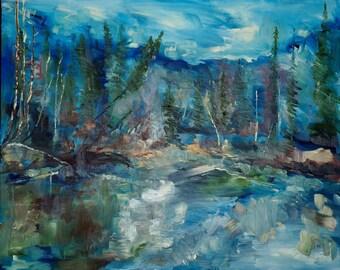 Original Art Print. Impressionist trees reflecting water original oil painting by BrandanC