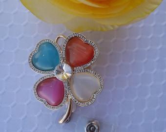 Opal Rhinestone Shamrock Heart Retractable ID Name Badge Holder