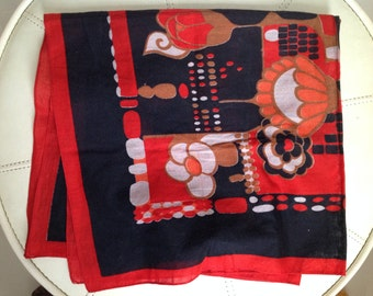 Black and Red Floral Pattern Scarf