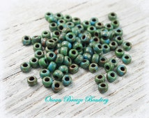 Picasso Seafoam Green Matte . 6/0 Seed Bead . 20 grams