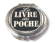 Livre de poche mirror, french quote, black and white mirror, pocket mirror, compact mirror, book mirror, litterature mirror, book accessory