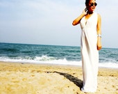 White V neck sleeveless long maxi beach sun dress all size