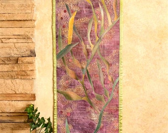 Hand painted fabric art quilt - Kelp