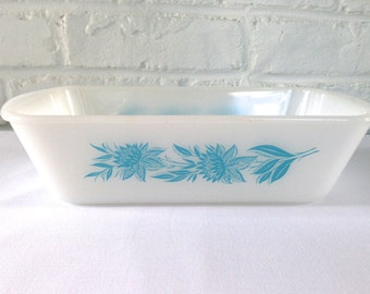 Glasbake by Jeannette Blue Floral Loaf Pan