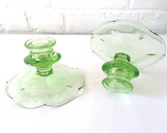 Vintage Glass Green Candlesticks