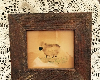 Primitive Rustic Framed Sheep Print