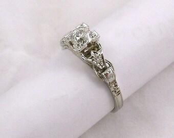 Vintage Diamond engagement ring, 18k white gold
