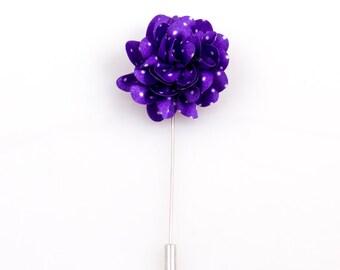Purple Polka Dot Lapel Flower