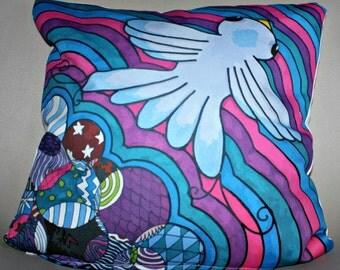 The flight, by Erika cotton cushion