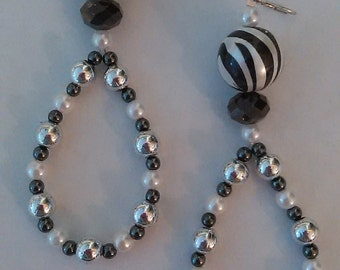 Black and white beaded earrings.
