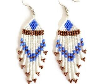 Blue Diamond Fringe Earrings