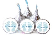 ITS A BOY Blue Baby Shower Favors Footprints Baby Feet Candy Stickers Hershey Kiss Labels Sip And See