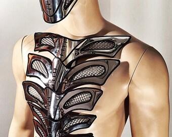 futuristic spinebone bustplate armour warrior gladiator