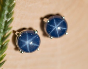 Star Sapphire Sterling Silver Earrings