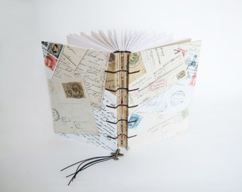 Travel Journal, Notebook, Sketchbook - Vintage postcards with Airplane Charm