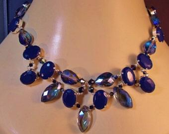 Dramatic Vintage Indigo Rhinestone & Montana Crystal Statement Necklace