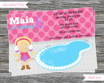 DIY - Girl Winter Pool Birthday Party Invitation 2 # 441 - Coordinating Items Available