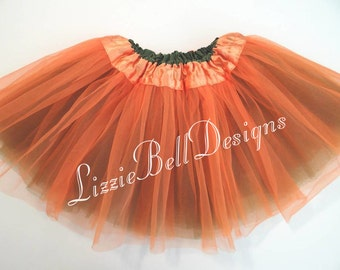 "Orange / Olive Reversible Ballet Tutu Two Tone Skirt  / Waist Stretch 14-24"" / Child Toddler Costume Photo Prop Soft Tulle"