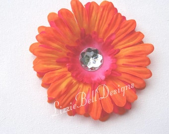 2009 Orange Hair Clip Hot Pink Childs Flower Hair Clip / Perfect for Headband or Tutu