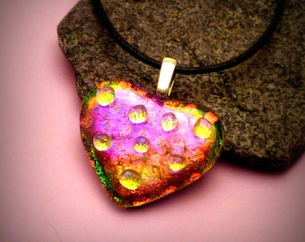 Fused Dichroic Glass Pendant Heart Pink Magenta Dots